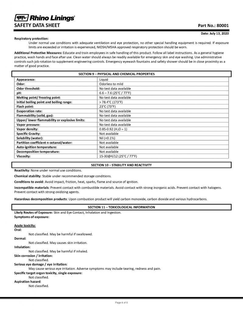 Safety Data Sheet - RhinoPure Hand Sanitizer Unscented Liquid 80001 - By Rhino Linings page 4