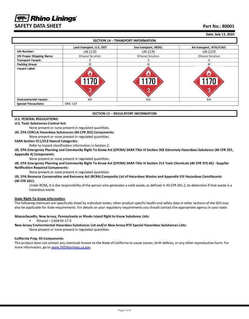 Safety Data Sheet - RhinoPure Hand Sanitizer Unscented Liquid 80001 - By Rhino Linings page 7