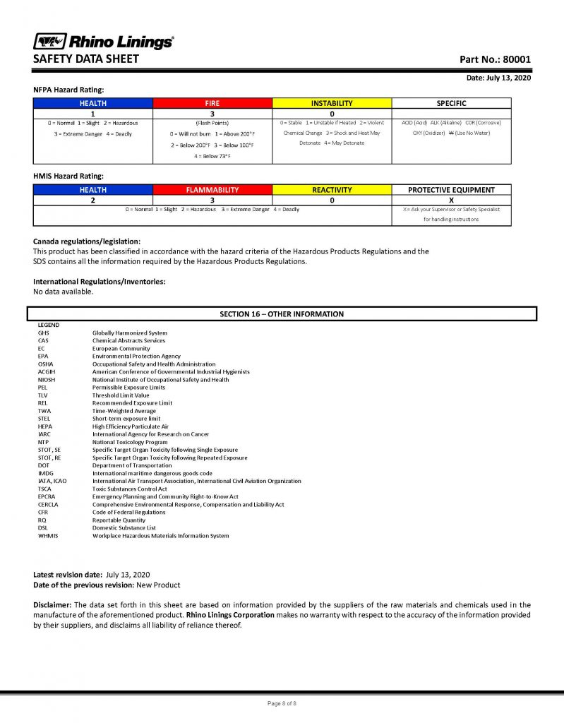 Safety Data Sheet - RhinoPure Hand Sanitizer Unscented Liquid 80001 - By Rhino Linings page 8
