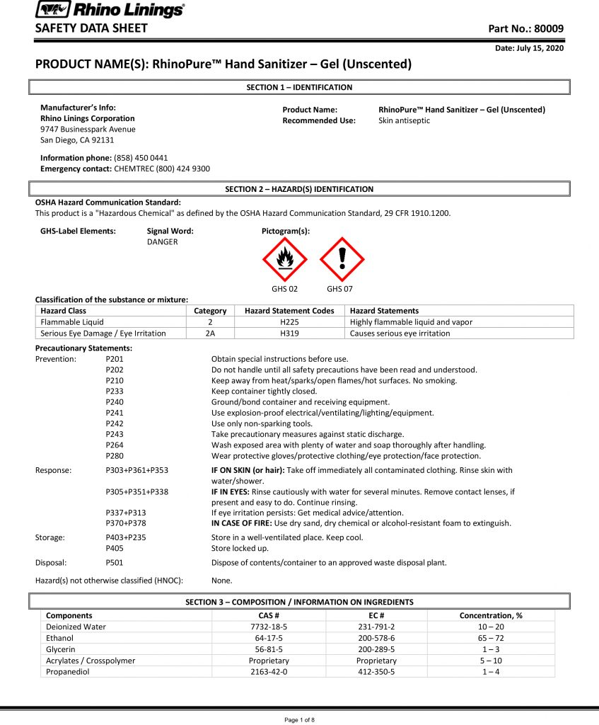 Safety Data Sheet - RhinoPure Hand Sanitizer Unscented Gel 80009 - By Rhino Linings page 1
