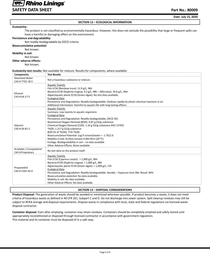 Safety Data Sheet - RhinoPure Hand Sanitizer Unscented Gel 80009 - By Rhino Linings page 6