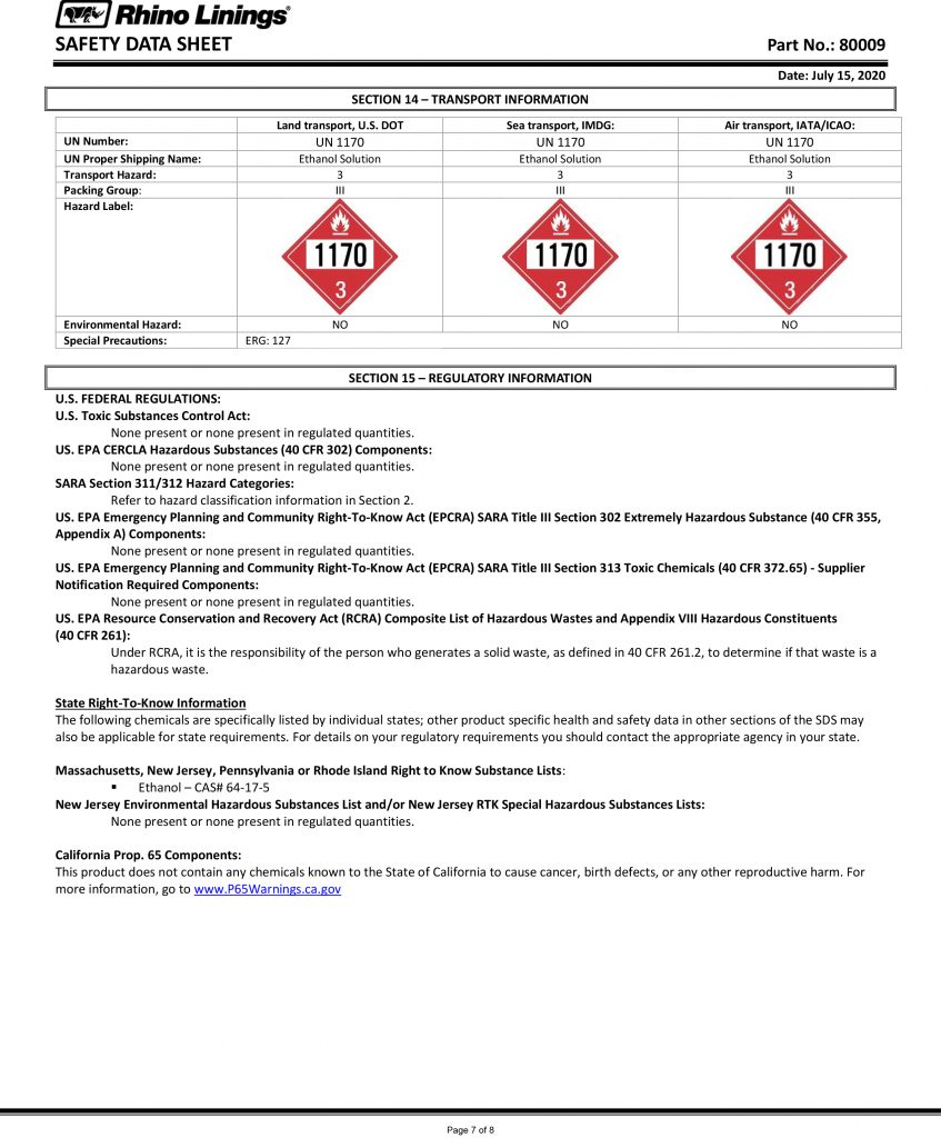 Safety Data Sheet - RhinoPure Hand Sanitizer Unscented Gel 80009 - By Rhino Linings page 7